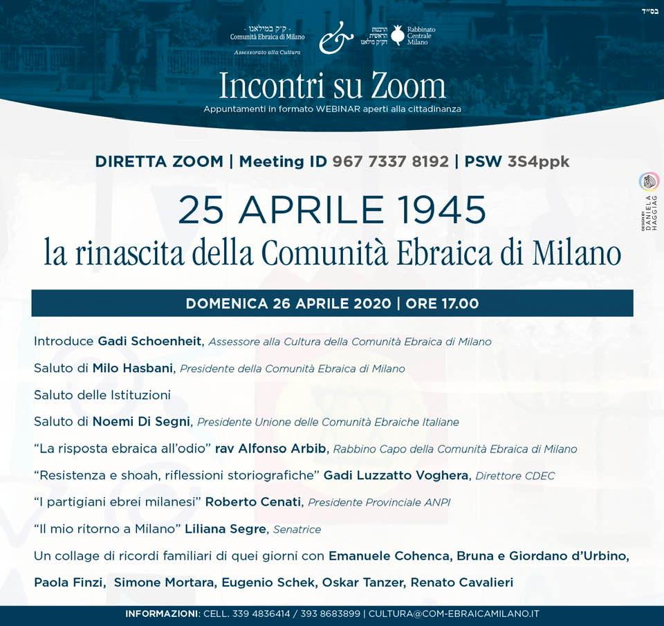 25 aprile 1945 la rinascita della Comunità Ebraica di Milano