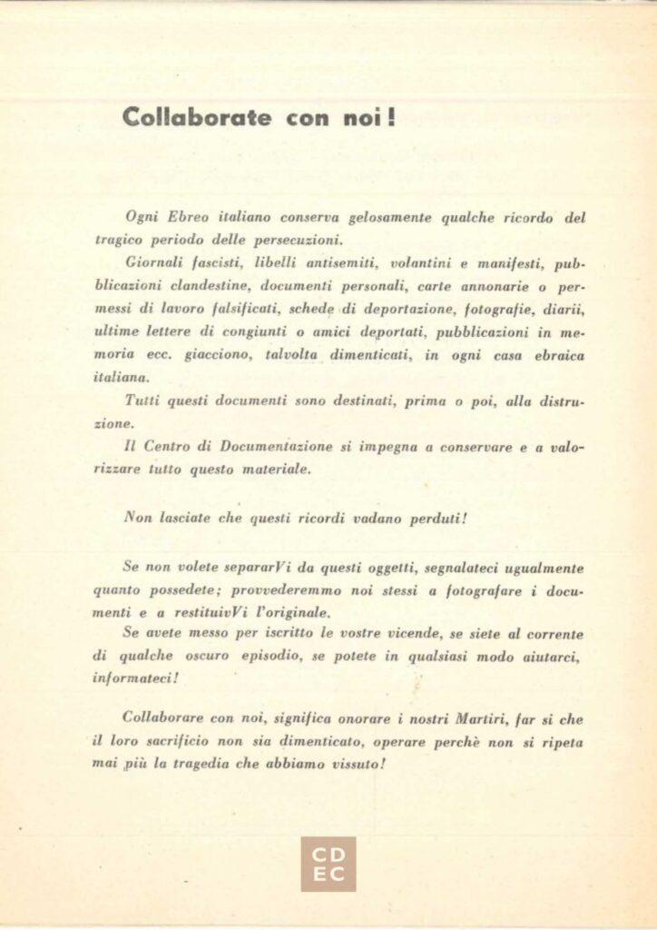 La prima brochure del CDEC, 1956