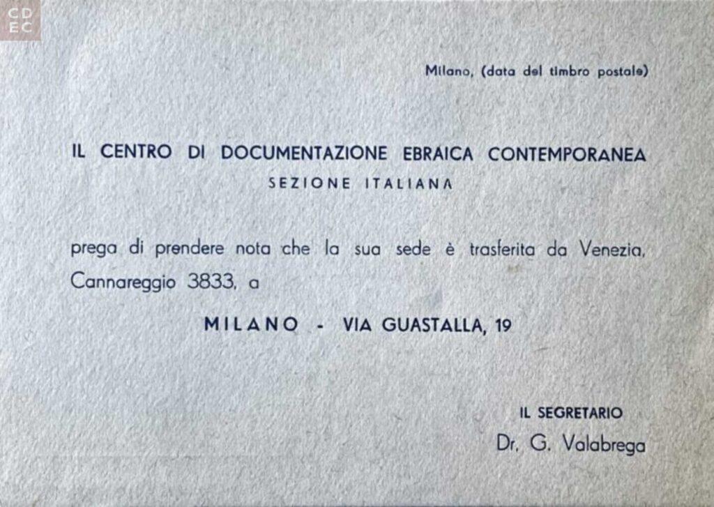 Annuncio del trasferimento della sede del CDEC da Venezia a Milano. 1960